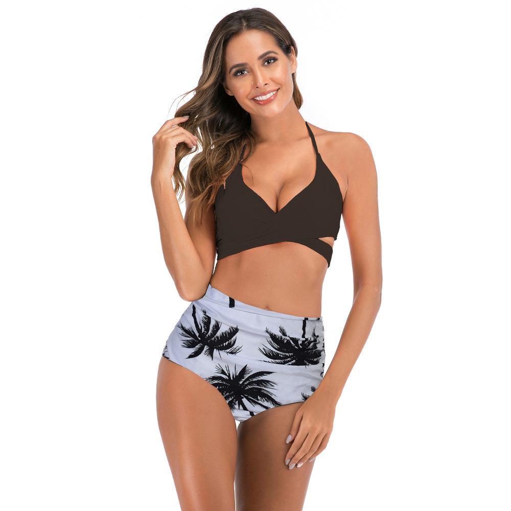 Women Prints Coconut Tree Cross Up High Waist Bikinis Sets Swimwear