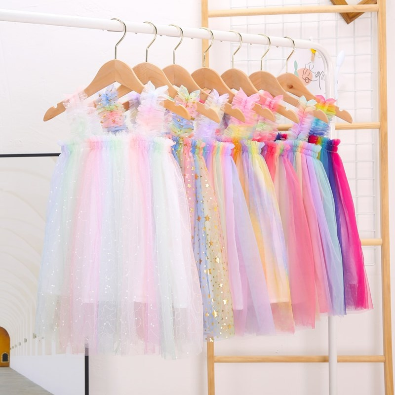 Toddler Girls Rainbow Ruffles Tutu Slip Boho Dress