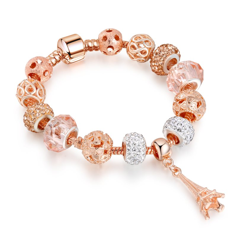 Women's Rose Gold Eiffel Tower Zircon Pink Glass Crystal Charm Chain Jewelry Bracelet