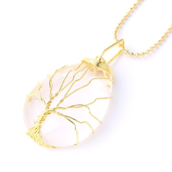 Drop-shaped Natural Crystal Stone Gold Tree of Life Chain Jewelry Necklace