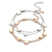 Rose Gold Silver Love Hearts Chain Jewelry Bracelet