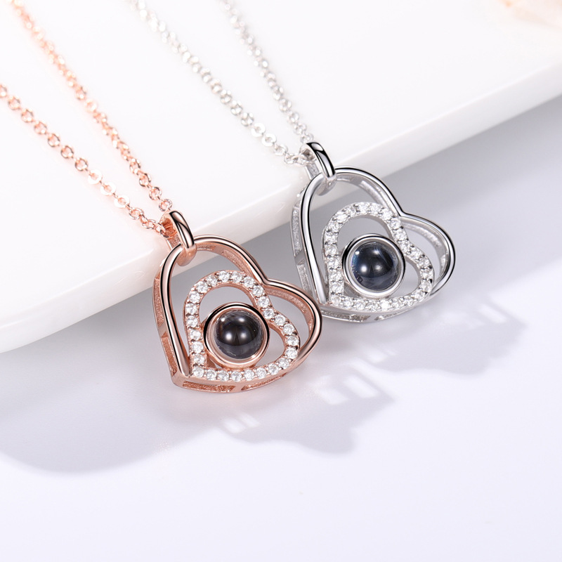 Zircon Diamond Hearts Clavicle Chain Jewelry Necklace