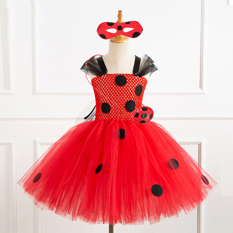 Toddler Girls Red Ladybug Sleeveless Hand Crochet Tutu Dress With Free Accessories