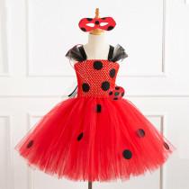 Toddler Girls Red Ladybug Sleeveless Hand Crochet Tutu Dress With Free Accessories