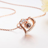 White Zircon Diamonds Heart-shaped Projection Clavicle Chain Jewelry Necklace