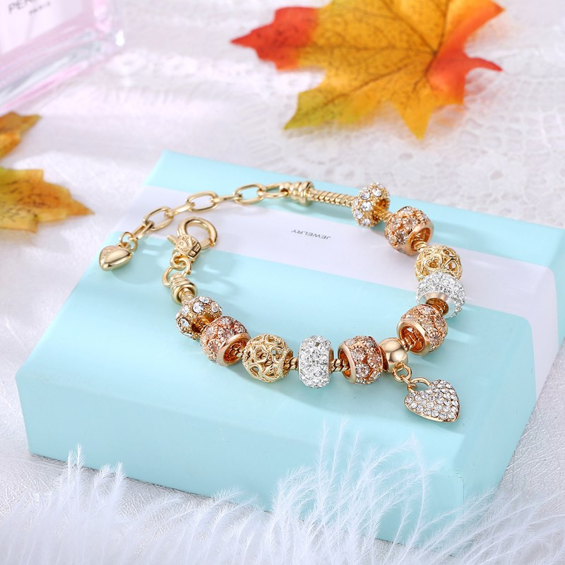 Women's Gold Zircon Diamond Beads Love Heart Bracelet Chain Charm Jewelry