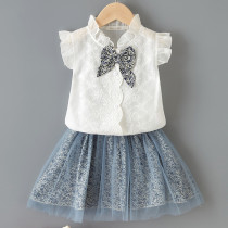 Toddler Girl White Embroidered Flowers Bowknot Ruffles Top and Mesh Floral Skirt Two Pieces Sets