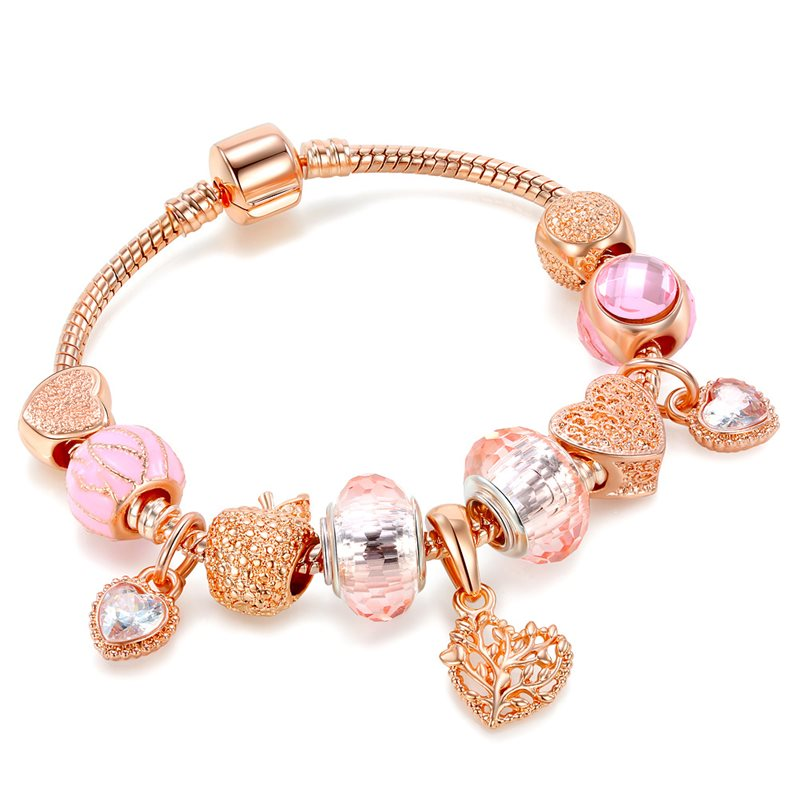 Women's Rose Gold Alloy Love Apple Zircon Heart Pink Glass Crystal Charm Chain Jewelry Bracelet