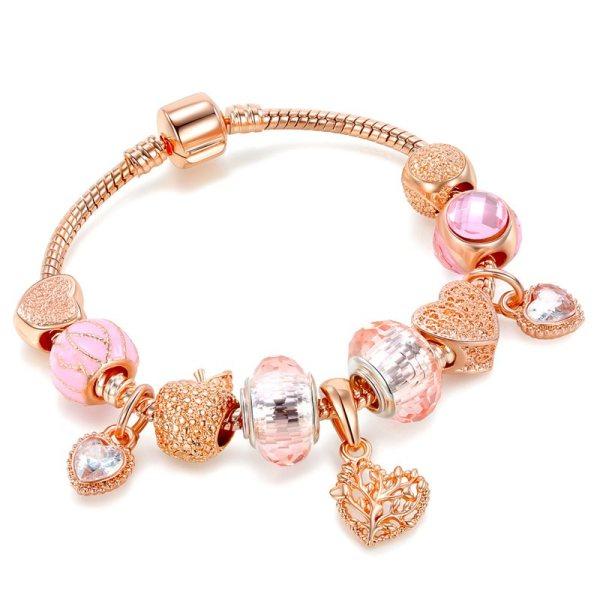 Women's Rose Gold Alloy Love Apple Zircon Heart Pink Glass Crystal Charm Chain Jewelry Bracelet