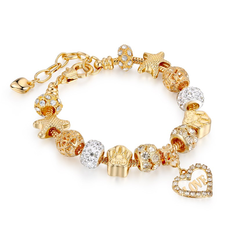 Women's Gold Starfish Zircon Diamond Beads Love Heart Bracelet Chain Charm Jewelry