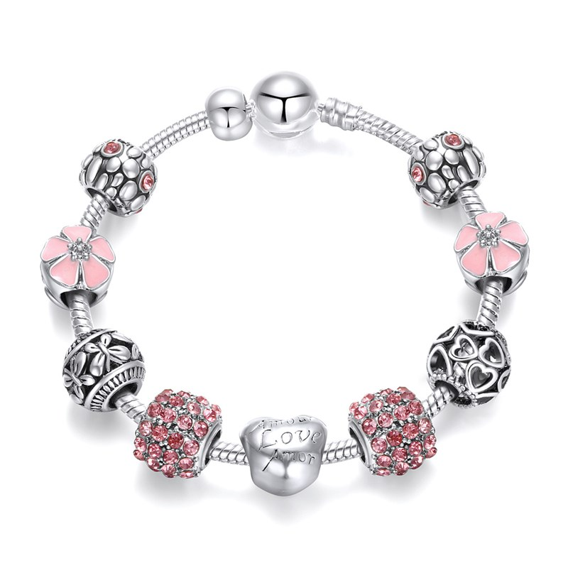 Women's Flower Heart Love Butterflies Zircon Crystal Charm Chain Jewelry Bracelet