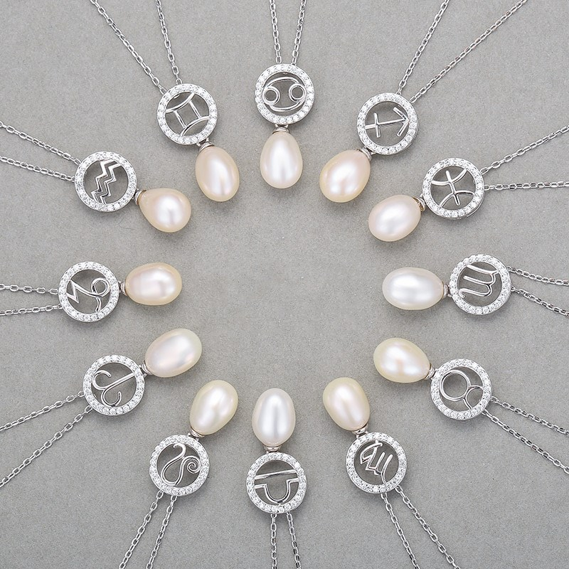 Sterling Silver Twelve Constellations Pearls Pendant Chain Jewelry Necklace