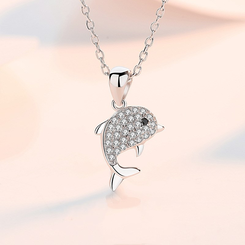 Sterling Silver Zircon Diamonds Dolphin Love Animal Clavicle Pendant Chain Jewelry Necklace