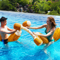 4PCS Wood Grain Inflatable Floating Ring On Water Swimming Floating Row