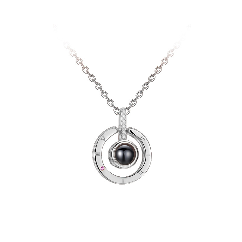 100 languages I love you Round Projection Clavicle Zircon Diamond Chain Jewelry Necklace