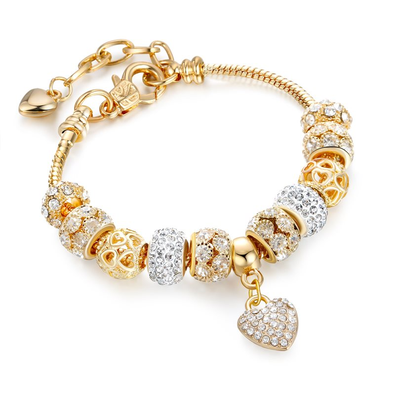 Women's Gold Heart Love Zircon Crystal Charm Chain Jewelry Bracelet