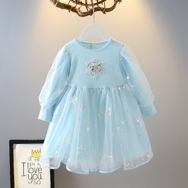 Toddler Girl Frozen Sequin Snowflakes Tutu Mesh Long Sleeve Knitted A-line Dresses