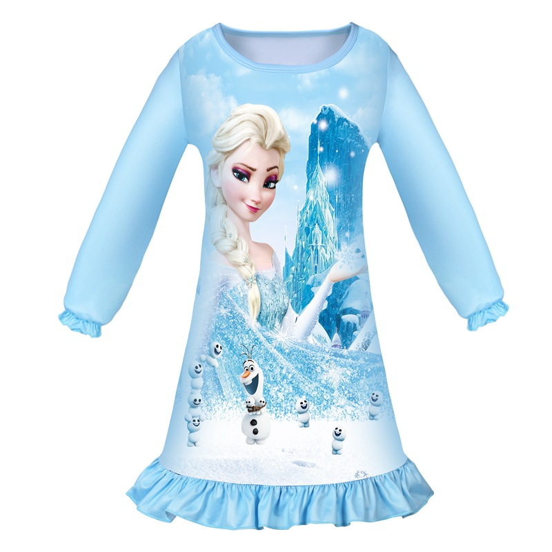 Toddler Girls Frozen Aisha Olaf Long Sleeves Sleepwear Dress