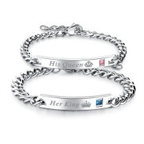 Silver His Queen Her King Crown Chain Jewerly Bracelet