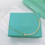 Sterling Silver Smile Zircon Diamonds Clavicle Chain Jewelry Necklace