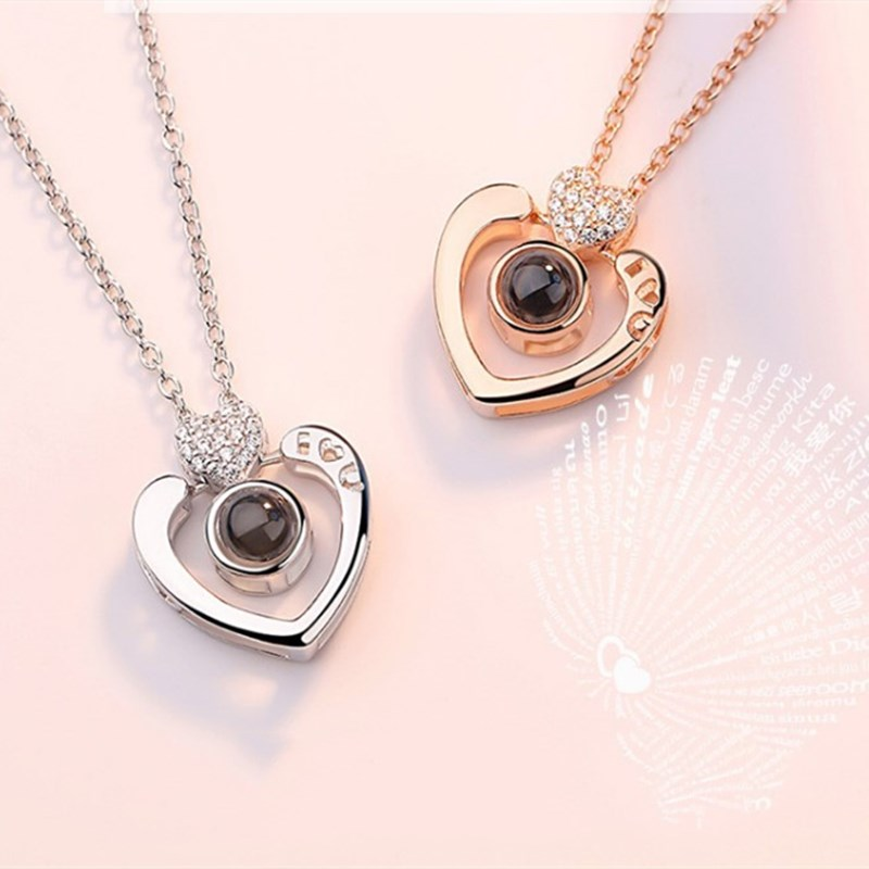 100 languages I love you Heart Zircon Diamonds Chain Necklace Jewelry