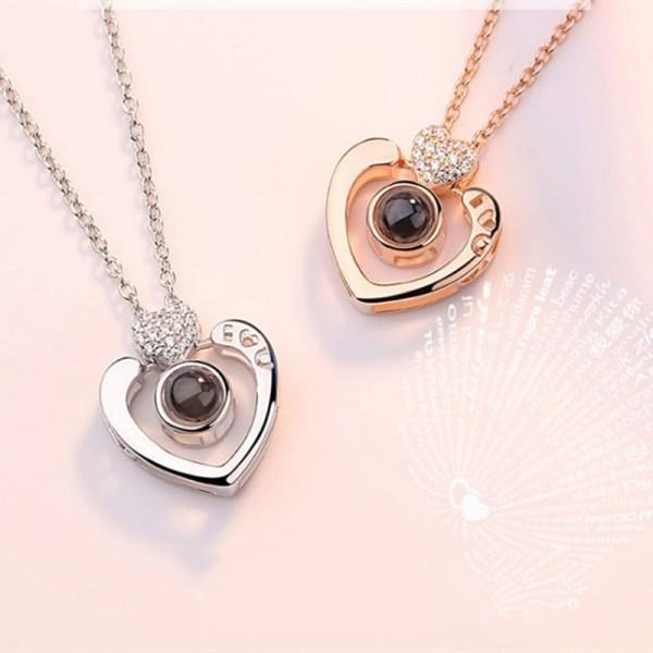 100 languages I love you Heart Zircon Diamonds Chain Necklace Jewelry