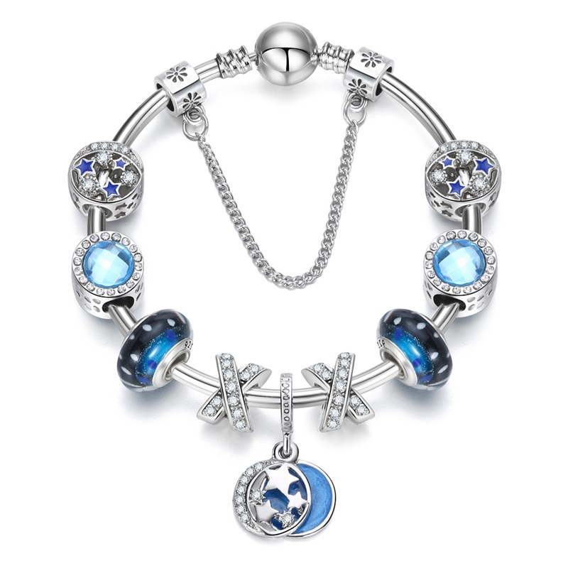 Women Blue Star Silver Beaded Zircon Diamond Crystal Charm Bracelet Bangle