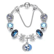 Women Blue Star Silver Beaded Zircon Diamond Crystal Charm Bracelet Bangle