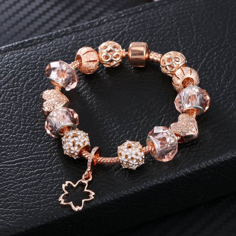 Women's Rose Gold Flower Star Beaded Bracelet Chain Charm Jewelry