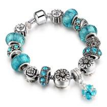 Star Heart Sun Beaded Bracelet Silver Crystal Charm Jewelry for Women