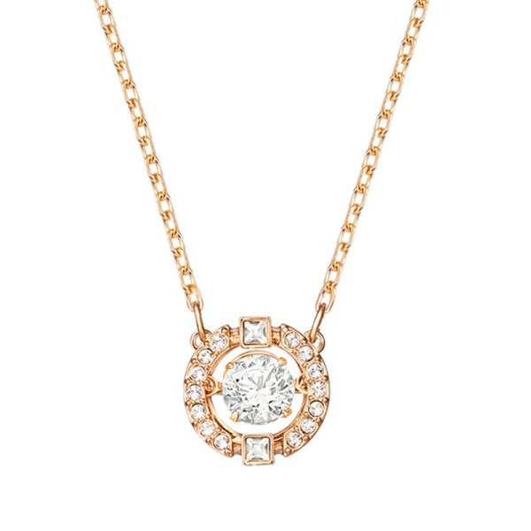 Rose Gold Zircon Diamonds Beating Heart Clavicle Chain Jewelry Necklace