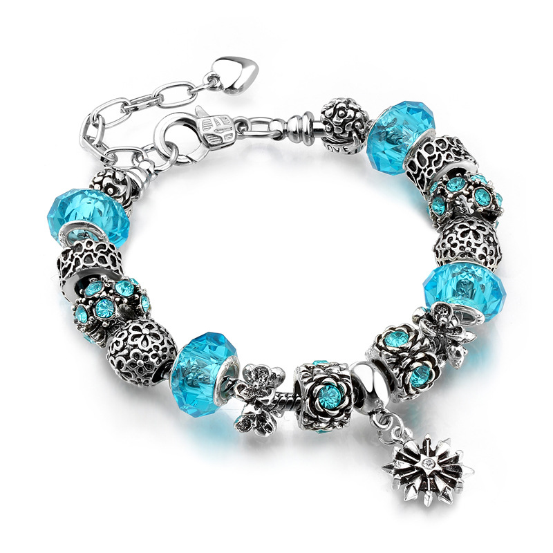 Flower Star Silver Beaded Bracelet Crystal Charm Zircon Diamond Bead Bracelet for Women
