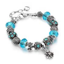 Flower Star Silver Beaded Bracelet Crystal Charm Zircon Diamond Bead Bracelet for Women