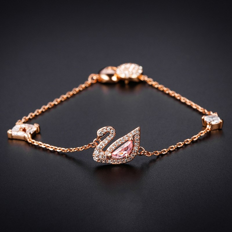 Swan Rose Gold Pink Swan Zircon Diamond Chain Jewelry Bracelet