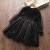 Toddler Girl Tulle Tutu Puffy Gold Thread Long Sleeve Knit Dresses