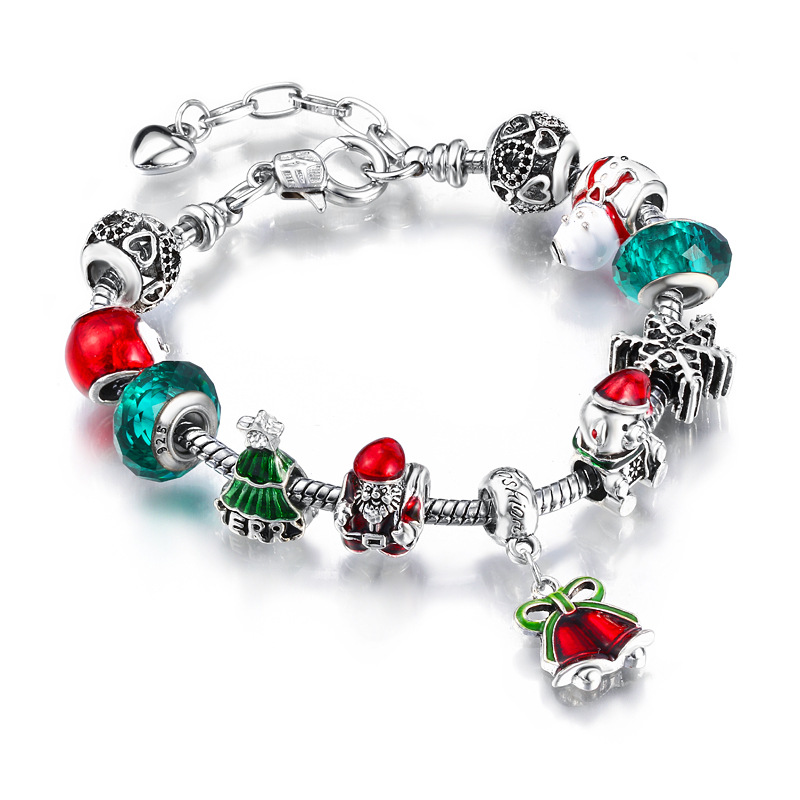 Christmas Gift Women's Xmas Tree Santa Claus Red Bells Big Bead Crystal Charm Chain Jewelry Bracelet