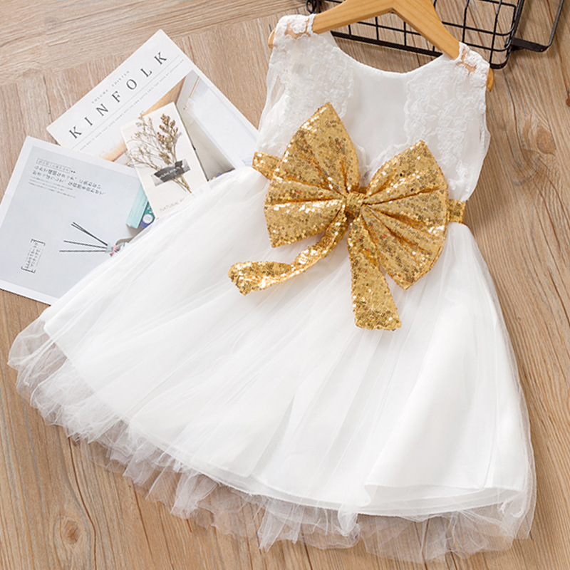 Toddler Girls Gold Sequins Bowknot Sleeveless Lace Tutu Dress