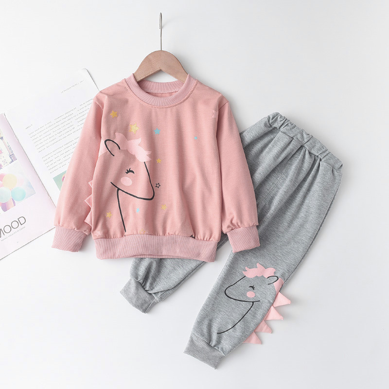Toddler Girls 3D Pony Stars Sweatshirt and Pants Outfits