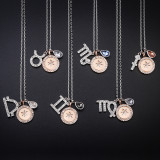 Sterling Silver Twelve Constellations Clavicle Zircon Diamonds Pendant Chain Jewelry Necklace