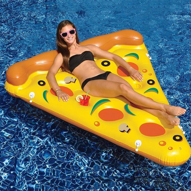 Yellow Pizza Inflatable Pool Floats Swimming Floating Row