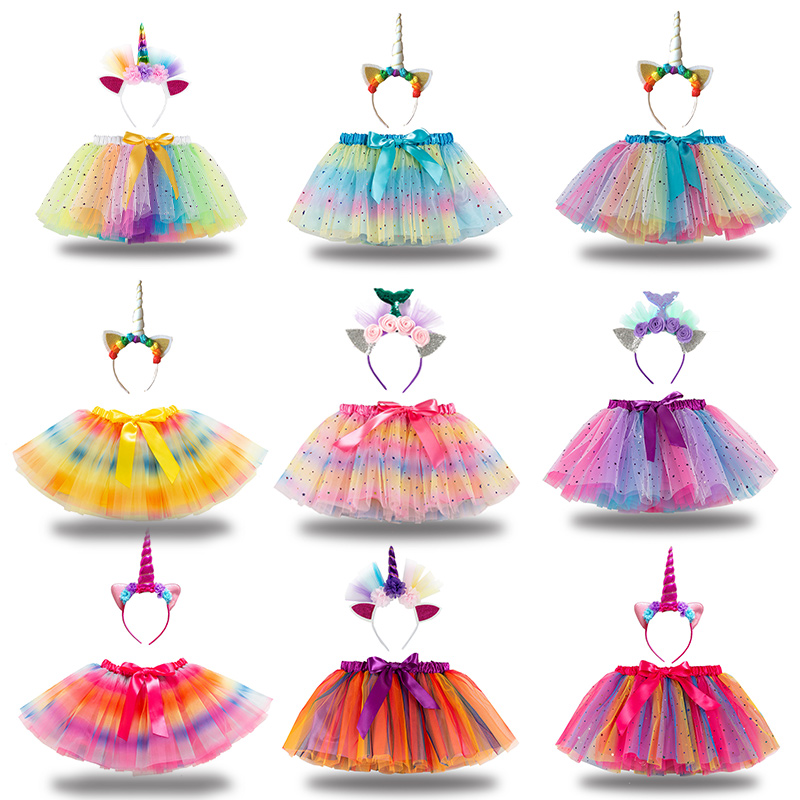 Toddler Girls Sequins Stars Rainbow Tutu Skirt with Unicorn Headband