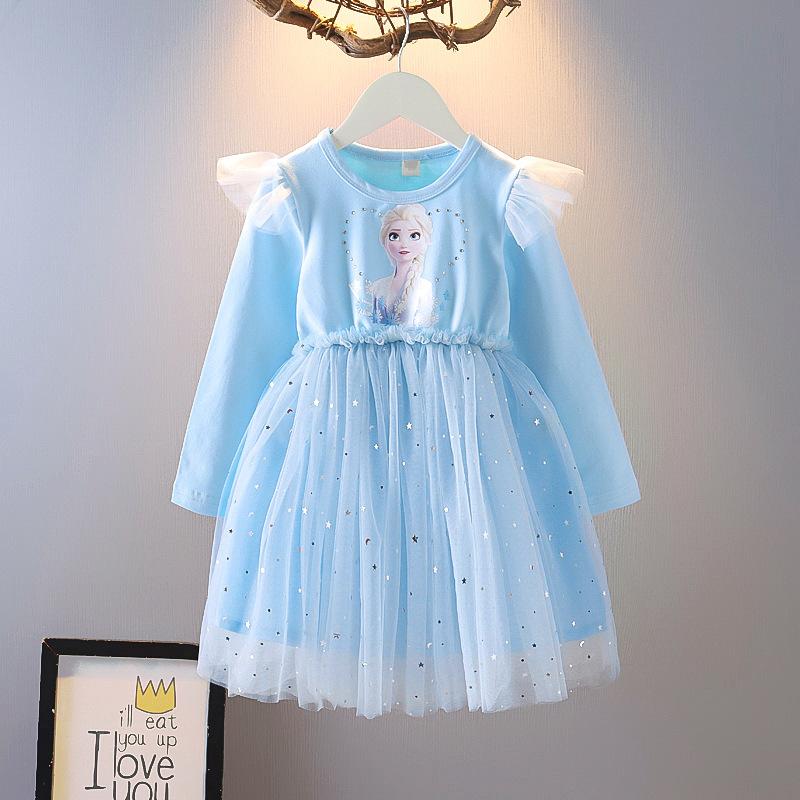 Toddler Girl Frozen Sequin Stars Ruffles Tutu Mesh Long Sleeve A-line Dresses
