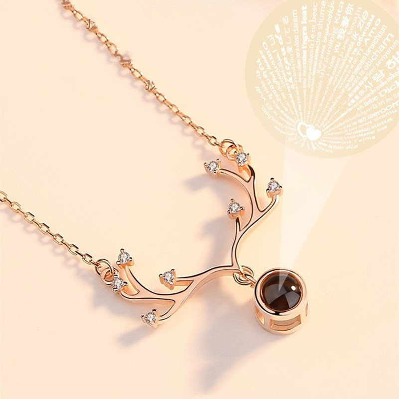 100 languages I love you Antlers Clavicle Chain Necklace Jewelry