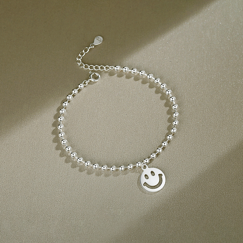 Silver Smile Round Beads Chain Jewelry Bracelet