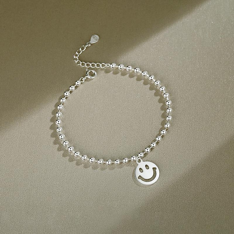 Silver Smile Round Beads Chain Jewelry Bracelet