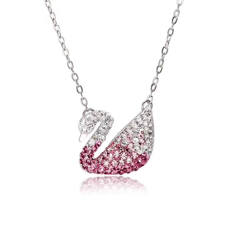 Swan Diamond Silver Gold Chain Necklace Jewelry
