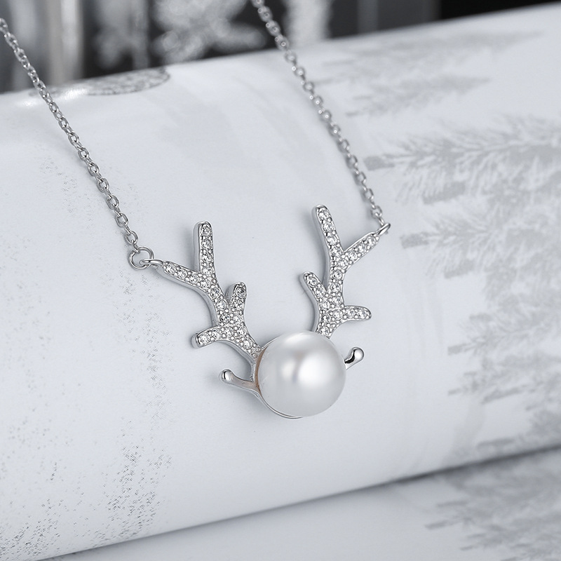 Sterling Silver Antlers Zircon Diamond Pearl Pendant Chain Jewelry Necklace