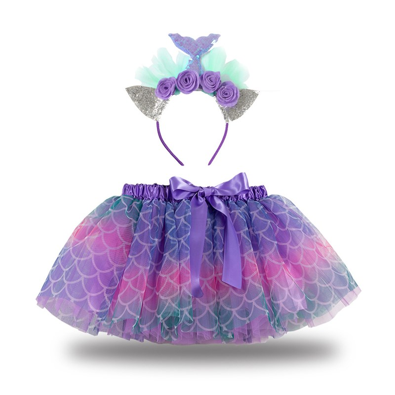 Toddler Girls Bowknot Mermaid Tutu Skirt with Flowers Headband
