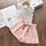 Kid Girl Prints Pineapples Ruffles Sleeves Top and Bowknot Shorts Two Pieces Sets