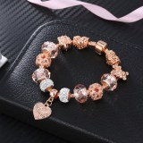 Women's Rose Gold Love Heart Cute Bear Beaded Pink Zircon Bracelet Chain Crystal Charm Jewelry